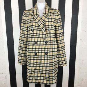 Zara Yellow Black Plaid Double Breasted Pea Coat